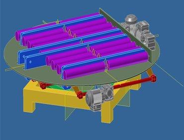 Transportador giratorio rodillos y cadenas